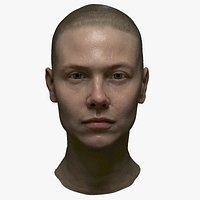 Photorealistic PBR female face  game animation ready