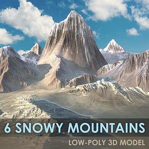 6 SNOWY MOUNTAINS SET Low-poly 3D model 3D model