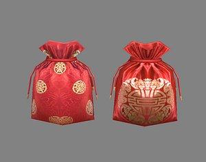 Cartoon Fu Bao - lucky bag - red wedding envelope - money bag 3D model