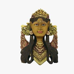 Balinese Janger Dancer Mask Wood Sculpture Extreme Definition 3D Scanned 3D model