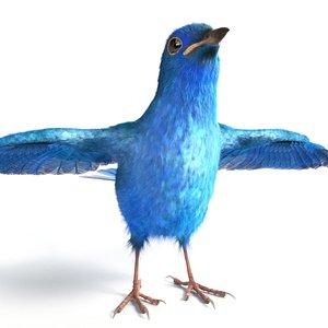 3D blue nightingale bird