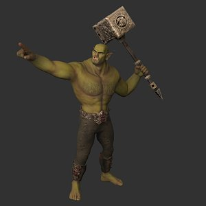 3D Realistic character orc warrior game ready Low-poly