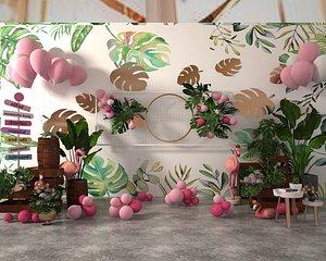 3D wedding balloon lobby flower wall model