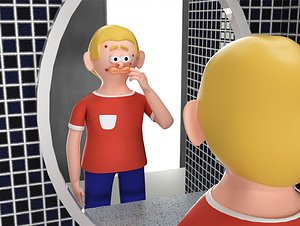 Adolescent boy squeeze acne look in the mirror binding IP image C4D cartoon advertising bar package 3D