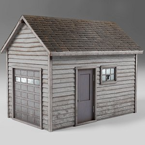 3D Classic american style abandoned detached garage