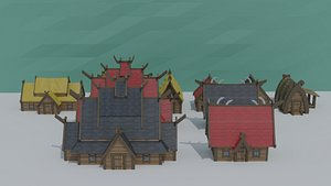 cartoon viking houses asset 3D model