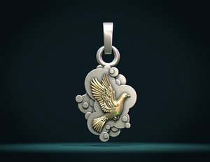 3D model Pendant with a pigeon