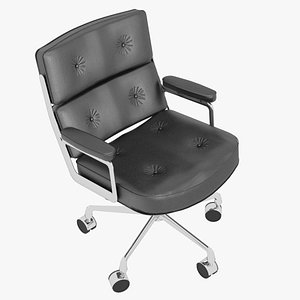 Eames Executive Chair Chrome Frame Black Leather 3D model