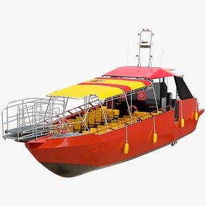 3D Excursion Boat Black Red model