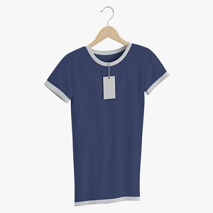 Female Crew Neck Hanging With Tag White and Dark Blue 02 3D