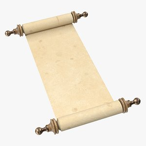 3D model Antique Unfolded Blank Paper Scroll