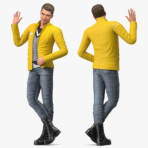 Teenage Boy Fashionable Style Rigged for Cinema 4D 3D model