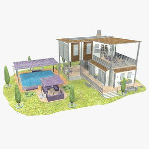 3D model Modern House - 3 - Low Poly -  Textured