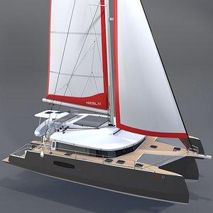 Trimaran Neel 51 Sailboat 3D model