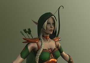 3D model warrior girl