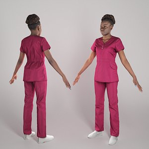 Young african nurse ready for animation 289 model