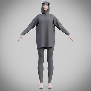 3D female jogger apparel - hoodie outfi