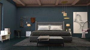3D Modern Living Bedroom Interior Scene