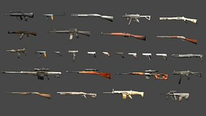guns pack weapons 3D model