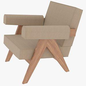 3D model capitol complex armchair jeanneret