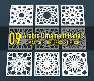 3D ornament panel arabic