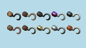 3D model 10 Pirate Hook Collection - Character Design Fashion