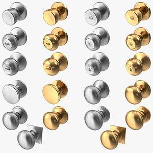 3D Door Knob Steel Golden Collection V01