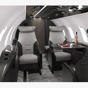 Learjet Modern Concept Interior and Private Jet Seats 3D model