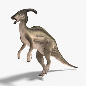 3D model parasaurolophus rigged animation