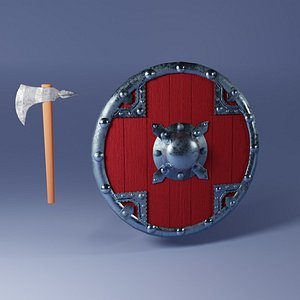 3D viking shield axe model