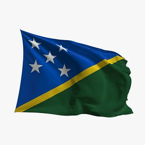 3D model Realistic Animated Flag - Microtexture Rigged - Put your own texture - Def Solomon Islands