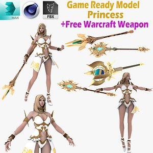 CG Woman girl warrior beauty female character Low-poly 3D mode 3D model