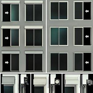 3D sliding stained glass doors model