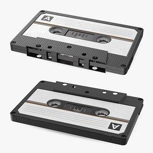 3D Black Cassette Tape model