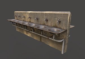 abandoned multiple drinking water 3D model