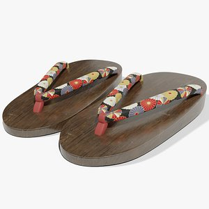 3D Geta Japanese Sandals model