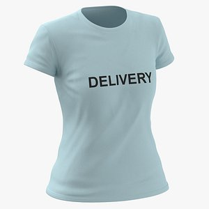 Female Crew Neck Worn Blue Delivery 02 3D model