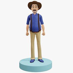 3D Farmer Man Rigged model