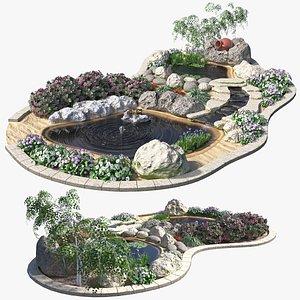 Garden Waterfall 02 3D model