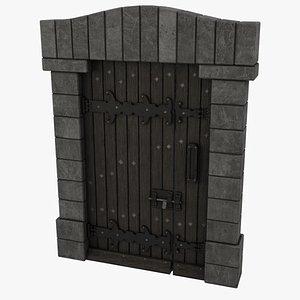 Medieval Door Double Bolt Latch Door 3D Model 3D model