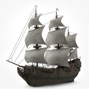 3D sailboat galleon model