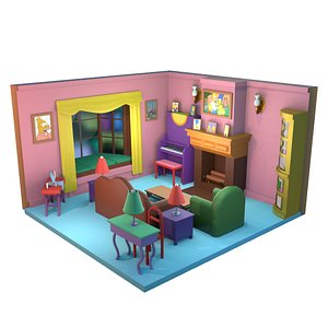 3D The Simpsons House Living Room 3D Low-poly 3D model