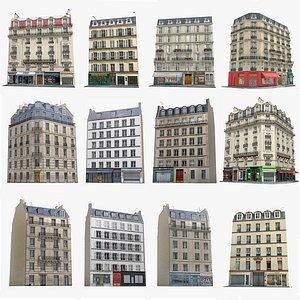 3D 12 Photorealistic Paris Buildings