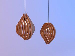 3D Wood blob parametric lamp 3D model model