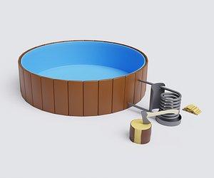 heated pool 3D model