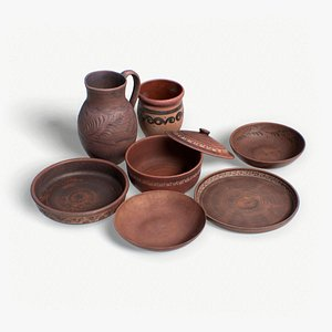 3D scan clay dishes claydishesset model