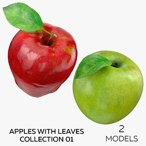 Apples With Leaves Collection 01 - 2 models 3D