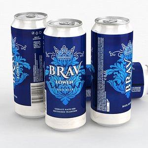 3D model Beer Can Brav Lowen 500ml 2021