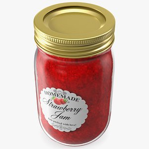 3D jam jar strawberry