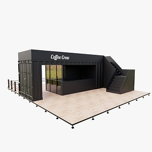 3D shipping container outdoor cafe